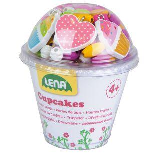 Holzperlen Cupcakes, pink