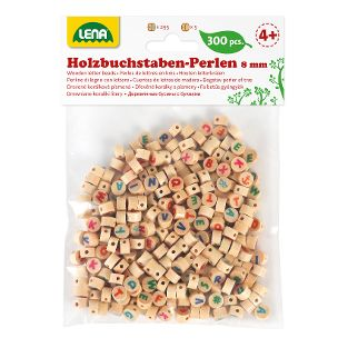 Holz-Buchstabenperlen, natur/bunt, 300-tlg., Beutel