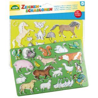 Zeichenschablone Pferde + Katzen