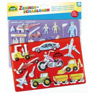 Zeichenschablone Fahrzeuge + Menschen